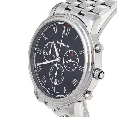 Montblanc Black Stainless Steel Tradition 7374 Men's Wristwatch 42 mm
