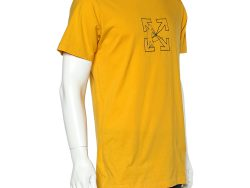Off-White Yellow Cotton Logo Worker Embroidered Crewneck T-Shirt M