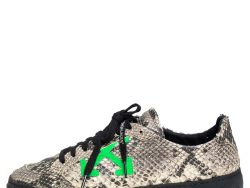 Off-White Black/Beige Snakeskin Embossed Leather 2.0 Sneakers Size 42