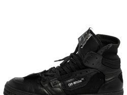 Off White Black Leather and Canvas Off Court 3.0 Sneakers Size 45