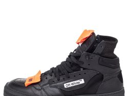 Off-White Black Leather And Canvas Off-Court 3.0 Hight Top Sneakers Size 44