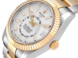 Rolex White 18K Yellow Gold And Stainless Steel Sky Dweller 326933 Men's Wristwatch 42 MM