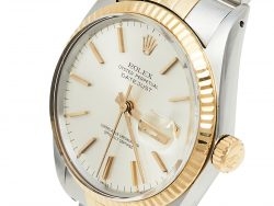 Rolex Silver 18K Yellow Gold and Stainless Steel Datejust 16013 Men's Wristwatch 36 mm