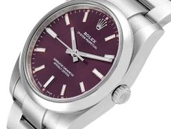 Rolex Red Grape Stainless Steel Oyster Perpetual 114200 Men's Wristwatch 34 MM