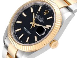 Rolex  Black 18K Yellow Gold And Stainless Steel Datejust 126333 Men's Wristwatch 41 MM