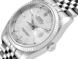 Rolex Silver White Gold And Stainless Steel Datejust 116234 Men's Wristwatch 36 MM