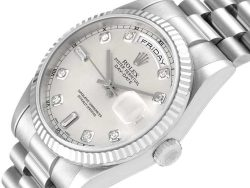 Rolex Silver Diamonds 18K White Gold And Stainless Steel President Day-Date 118239 Men's Wristwatch 36 MM