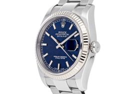 Rolex Blue 18K White Gold And Stainless Steel Datejust 116234 Men's Wristwatch 36 MM