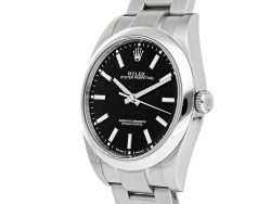 Rolex Black Stainless Steel Oyster Perpetual 114300 Men's Wristwatch 39 MM
