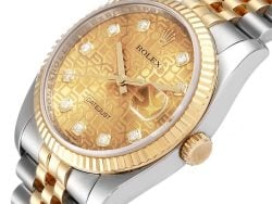 Rolex Champagne Diamonds 18K Yellow Gold And Stainless Steel Datejust 116233 Men's Wristwatch 36 MM