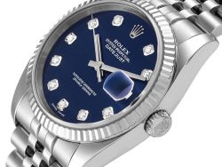 Rolex Blue Diamonds 18K White Gold And Stainless Steel Datejust 116234 Men's Wristwatch 36 MM