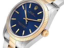 Rolex Blue 18K Yellow Gold And Stainless Steel Oyster Perpetual Vintage 14233 Men's Wristwatch 34 MM
