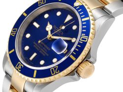 Rolex Blue Yellow Gold And Stainless Steel Submariner 16613 Men's Wristwatch 40 MM