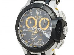 Tissot Black PVD Coated Stainless Steel & Rubber T-Race T048417A Men's Wristwatch 45 mm