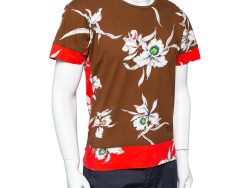 Valentino Brown  & Red Paneled Orchidee Printed Cotton Crewneck T-Shirt M