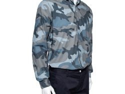 Valentino Grey Camoflauge Printed Cotton Button Front Shirt M