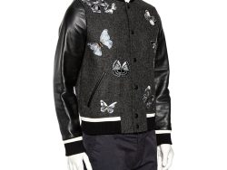 Valentino Charcoal Grey Wool & Black Leather Embroidered Bomber Jacket XS