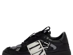 Valentino Black/White Leather And Nylon Fabric VLTN Low Top Sneakers Size 43