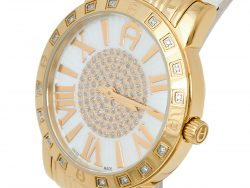 Aigner Mother of Pearl Gold Tone Stainless Steel Diamond Cortina A26300 Women's Wristwatch 36 mm