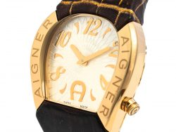 Aigner Silver Gold Tone Stainless Steel Leather Cremona A40200 Women's Wristwatch 36 mm