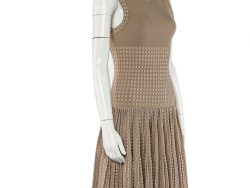 Alaia Beige Dotted Wool Knit Fit & Flare Dress M