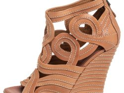 Alaia Brown Cutout Leather Wedge Booties Size 40