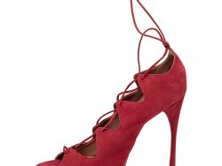 Alaia Red Suede Cut Out Peep Toe Ankle Wrap Sandals Size 39