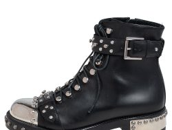 Alexander McQueen Black Leather Cap Toe Studded Ankle Boots Size 37