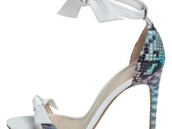 Alexandre Birman White/Multicolor Python and Leather Ankle Tie Sandals Size 39
