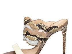 Alexandre Birman Beige/Brown Patent Leather And Python Open Toe Slide Sandals Size 39