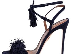 Aquazzura Navy Blue Suede Wild Thing Ankle Wrap Sandals Size 40