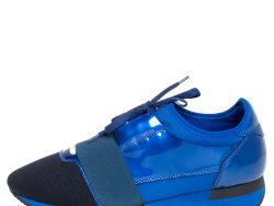 Balenciaga Blue/Black Knit Fabric And Patent Leather Race Runner Low Top Sneakers Size 39
