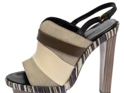 Balenciaga Tricolor Leather and Suede Platform Slingback Sandals Size 38