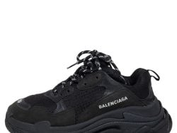 Balenciaga Black Mesh and Leather Triple S Sneakers Size 39