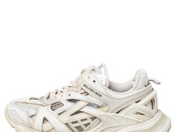 Balenciaga Cream Leather And Mesh Track Sneakers Size 38