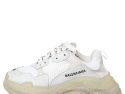 Balenciaga White Mesh And Leather Triple S Clear Sole Low Top Sneakers Size 38