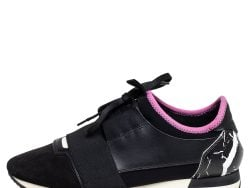 Balenciaga Black/Pink Leather and Suede Race Runner Sneakers Size 38