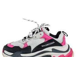 Balenciaga Multicolor Nubuck And Mesh Triple S Lace Up Sneakers Size 38