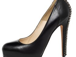Brian Atwood Black Leather Chain Heel Platform Pumps Size 39.5