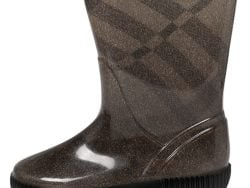 Burberry Grey Check Knit Fabric And PVC Rain Boots Size 35/36