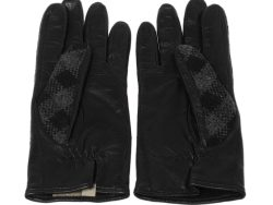 Burberry Black Check Wool and Leather Gloves Size 7.5