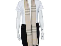 Burberry Beige Checkered Wool & Cashmere Stole