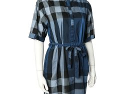 Burberry Brit Blue Checkered Cotton Belted Mini Dress S