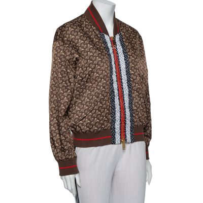 Burberry Brown Logo Monogram Synthetic Contrast Detail Bomber Jacket M