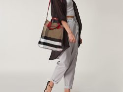 Burberry Multicolor Leather and House Check Canvas Tottenham Tote