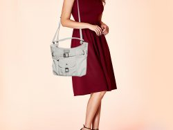 Burberry White Leather Front Pocket and Belt Detail Hobo