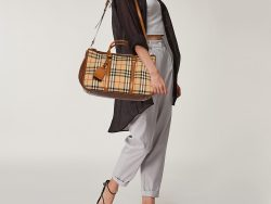 Burberry Brown/Beige Haymarket Canvas and Leather Tote