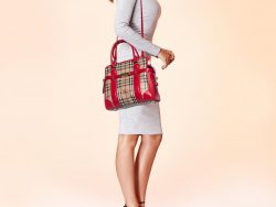 Burberry Beige/Red Haymarket Check Coated Canvas and Patent Leather Portrait Minford Satchel