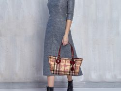 Burberry Heart  Beige / Bordeaux Coated Canvas And Patent Leather Satchel