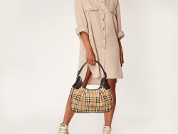 Burberry Beige/Brown Haymarket Coated Canvas and Leather Brooklyn Hobo